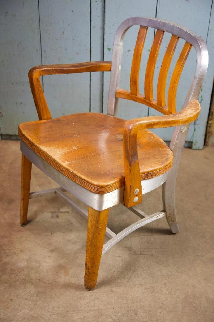Vintage Aluminum and Wood Chair - 2