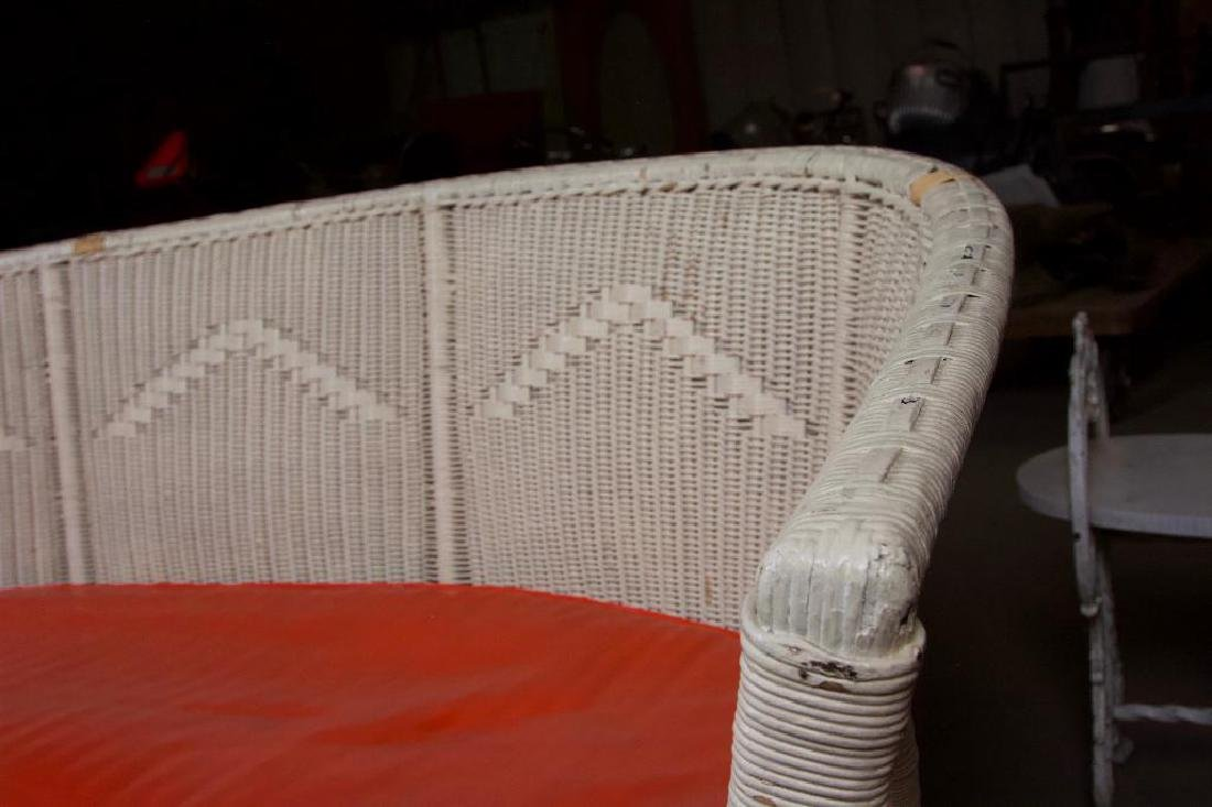 Wicker Couch with Orange Vinyl Cushion - 3