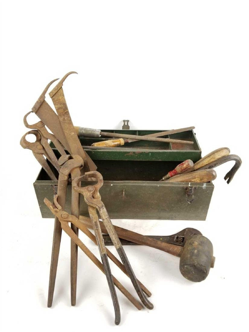 Antique Tool Box with Tools