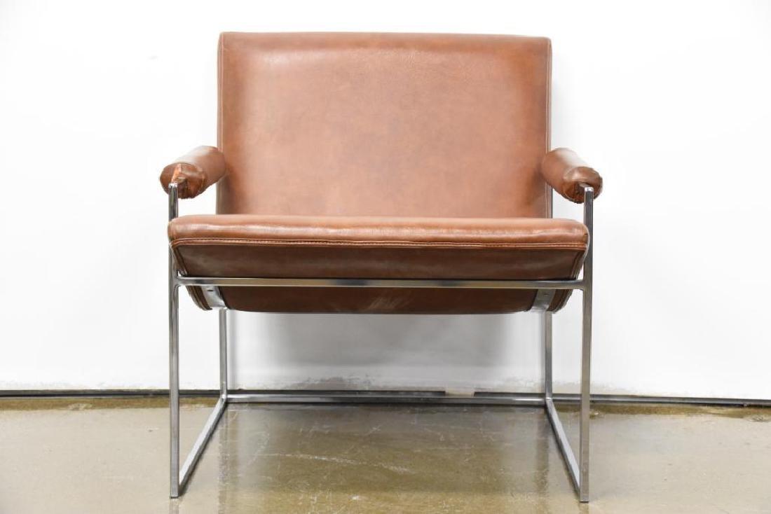 Milo Baughman Leather Chrome Arm Chair