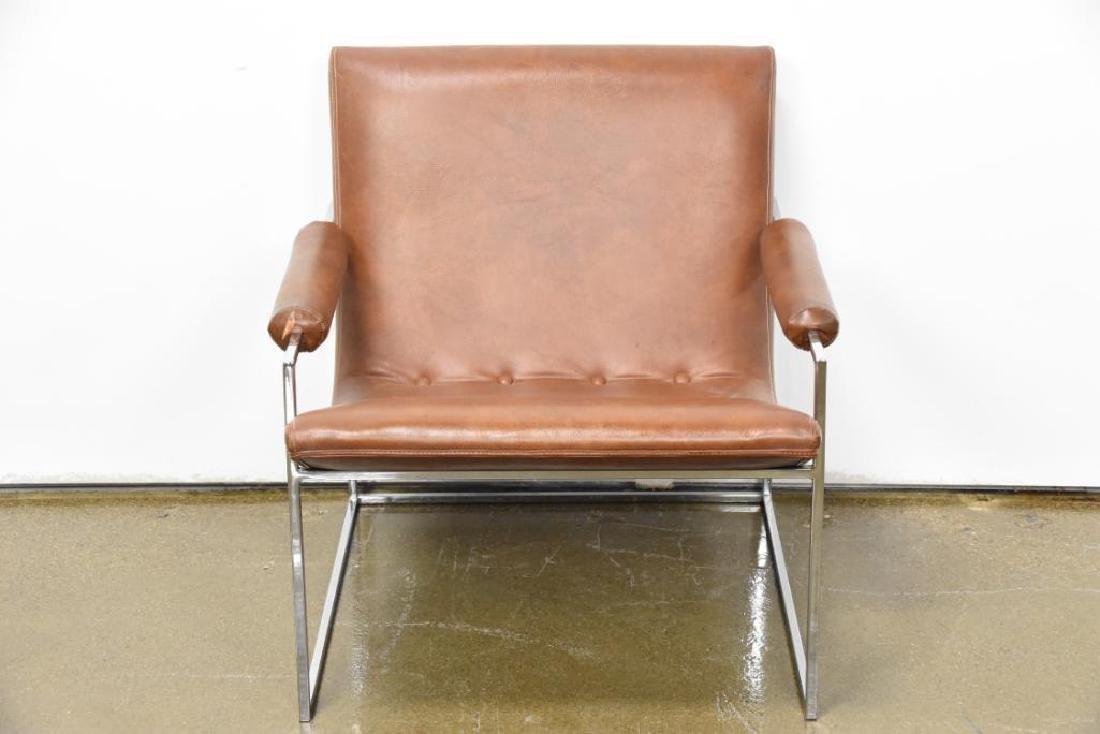 Milo Baughman Leather Chrome Arm Chair - 2