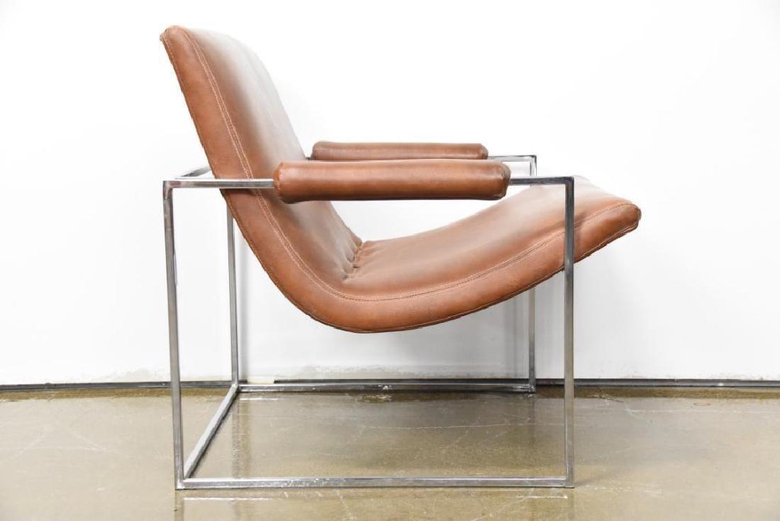 Milo Baughman Leather Chrome Arm Chair - 3