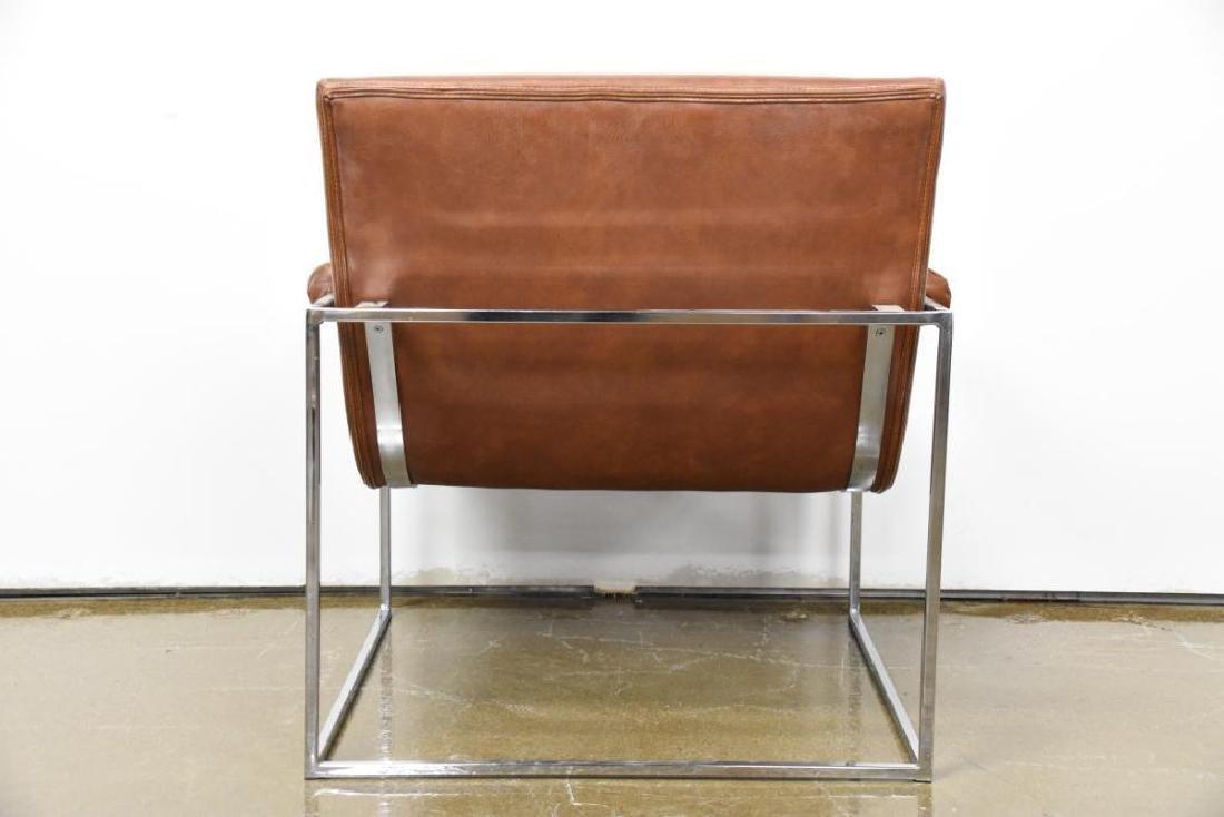 Milo Baughman Leather Chrome Arm Chair - 4