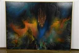 "Leonard Nierman ""Eternal Flight"" Oil on Masonite"