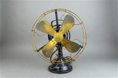 VERY RARE! Antique Working Hunter GE Brass Fan