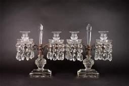 Pair of Antique Girandole Crystal Candelabra