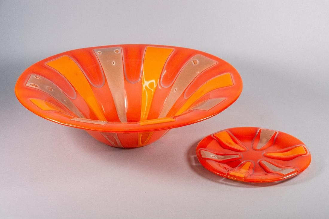 Decorative Art Glass Bowl and Plate by Higgins