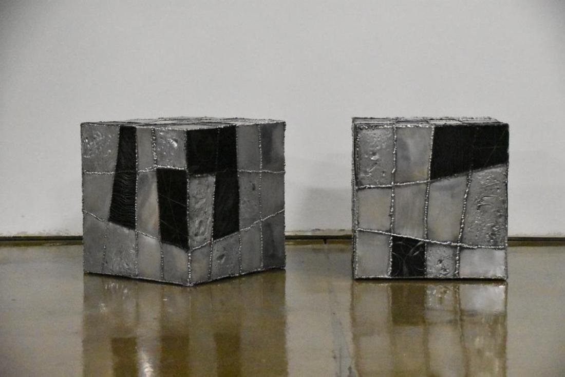 Argente Brutalist Cube In the Manner of Paul Evans