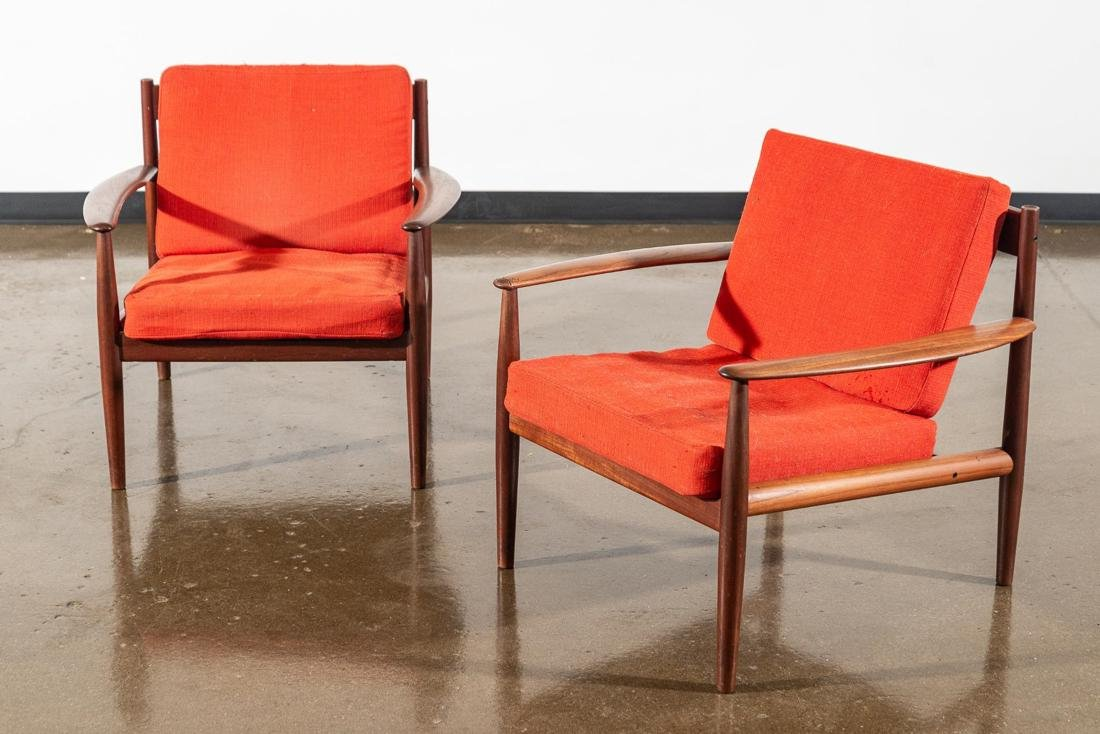 Pair of Danish Teak Lounge Chairs by Grete Jalk