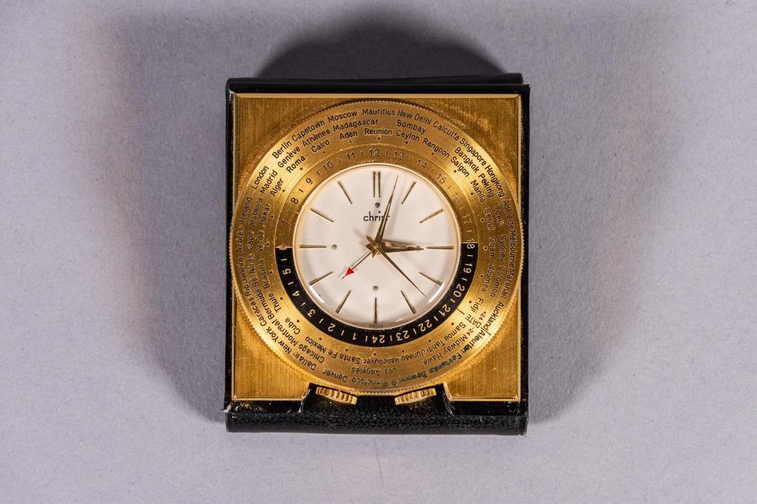 Leather Cased Travel Alarm Clock - Christ Swiss