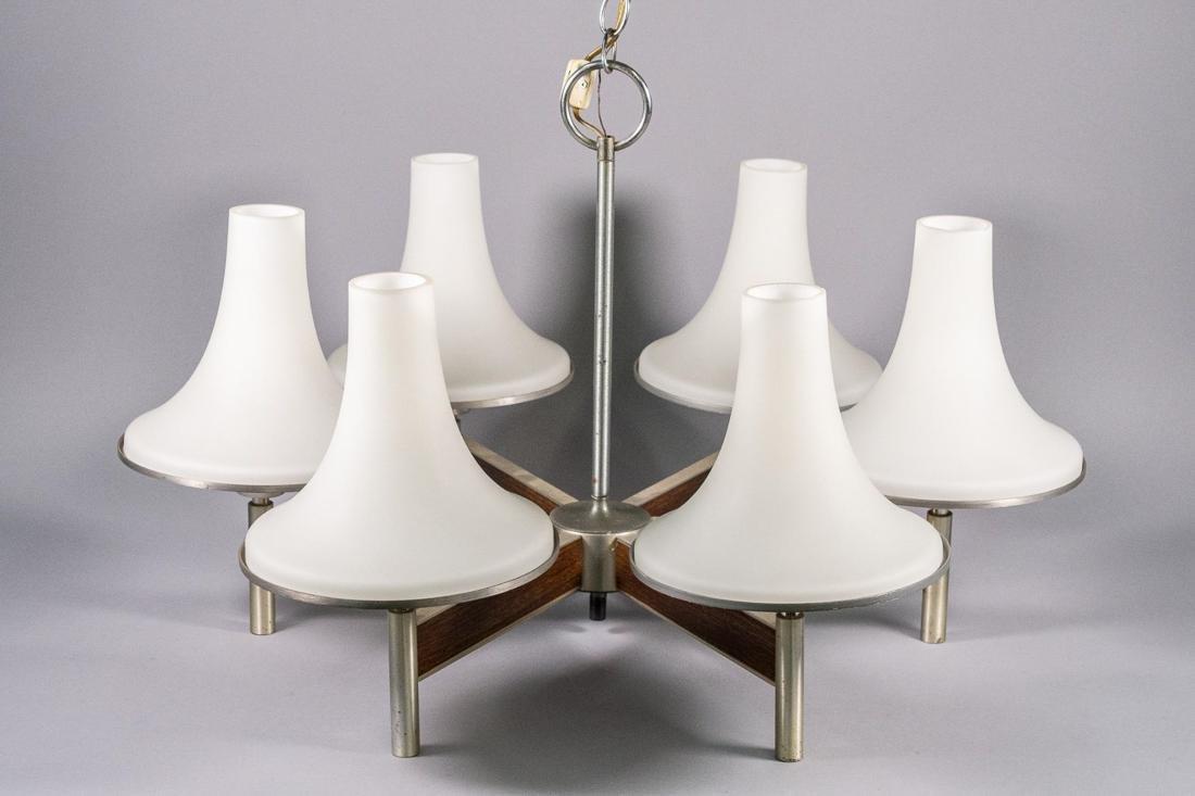Attr. Stilnovo Teak and Metal Swing Lamp