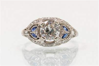 Platinum Engagement Ring with Diamond and Sapphires