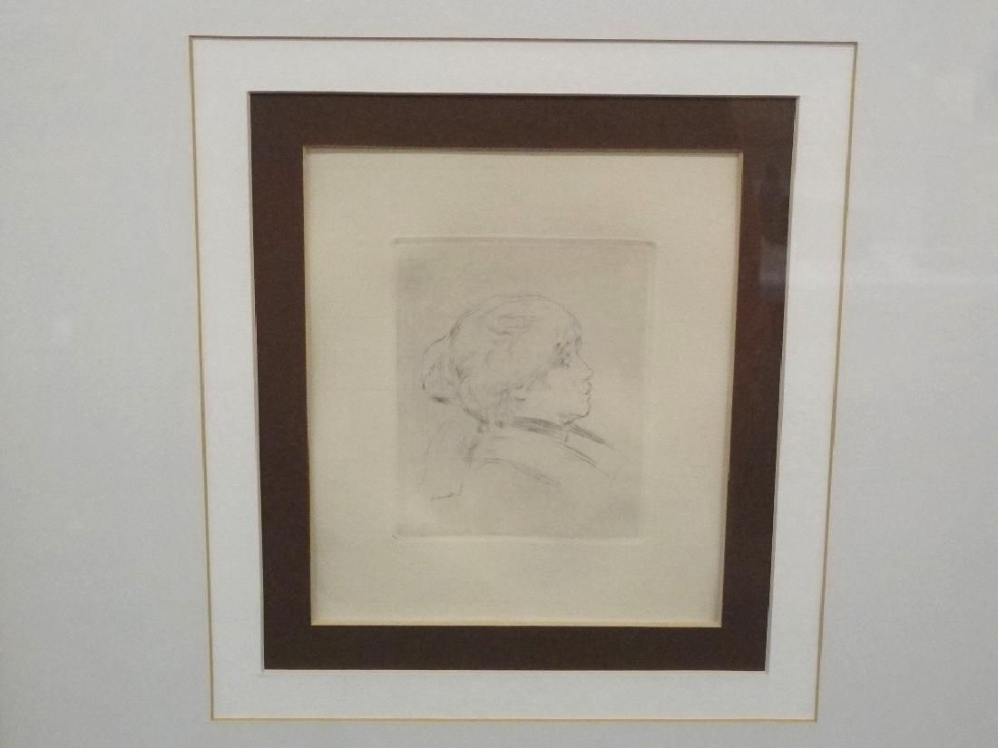 "Pierre Auguste Renoir Engraving ""Retrato de be"" Matted"