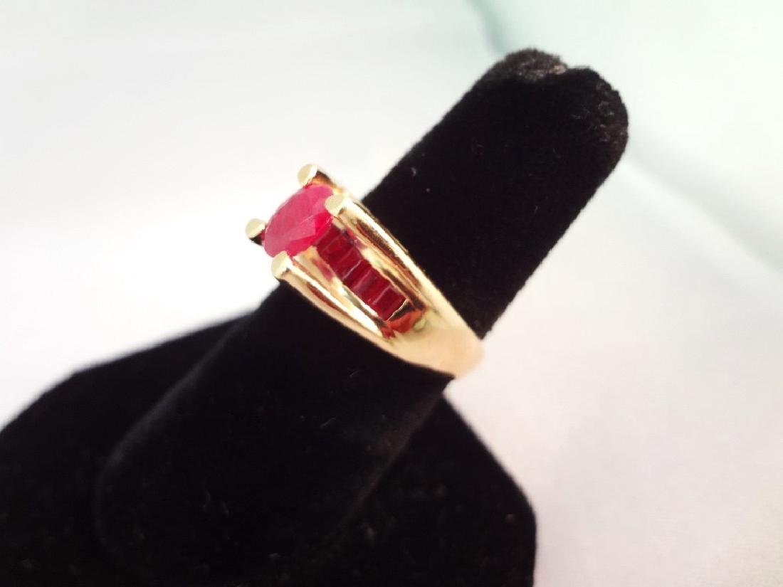 14K Gold Ring (1) Oval Ruby 6x4mm, (8) Ruby Baguettes - 2