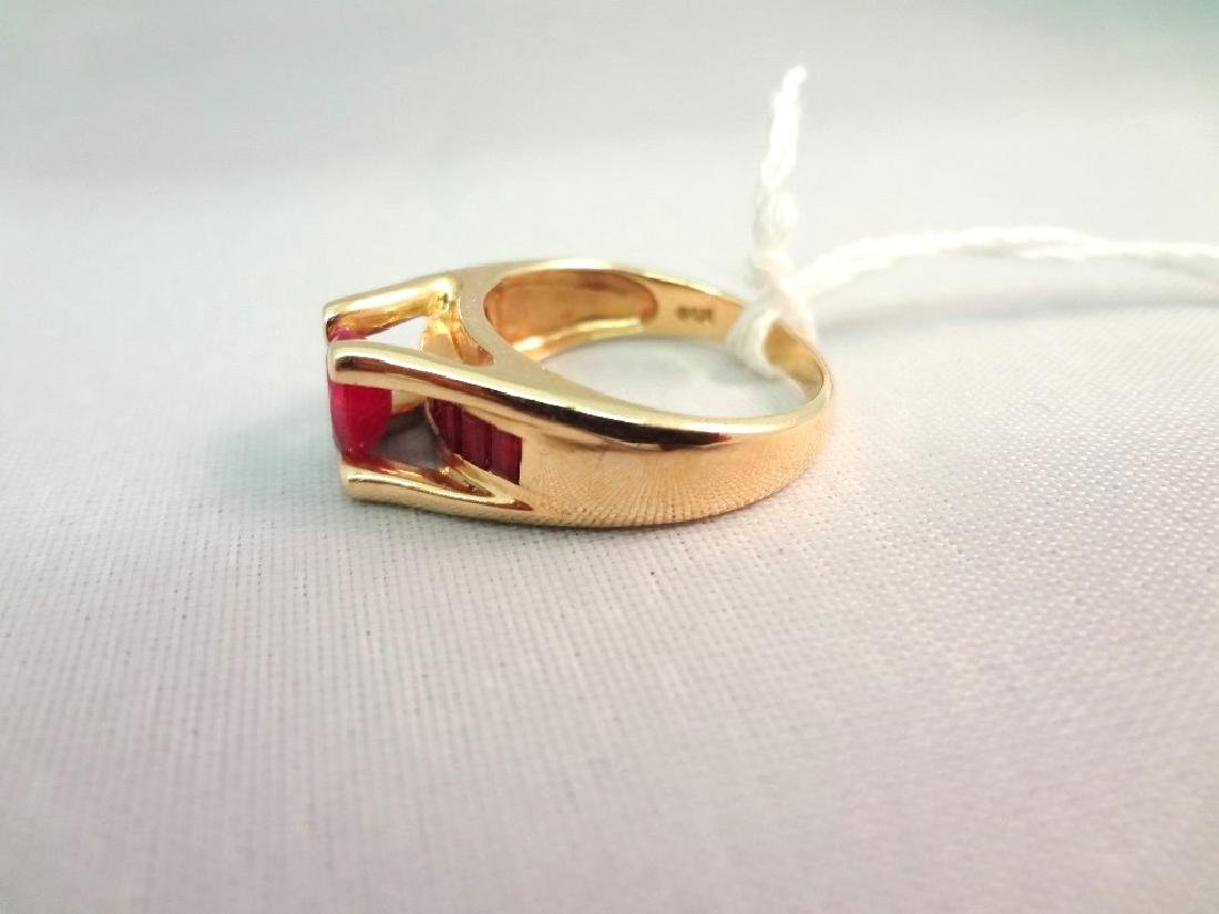 14K Gold Ring (1) Oval Ruby 6x4mm, (8) Ruby Baguettes - 3