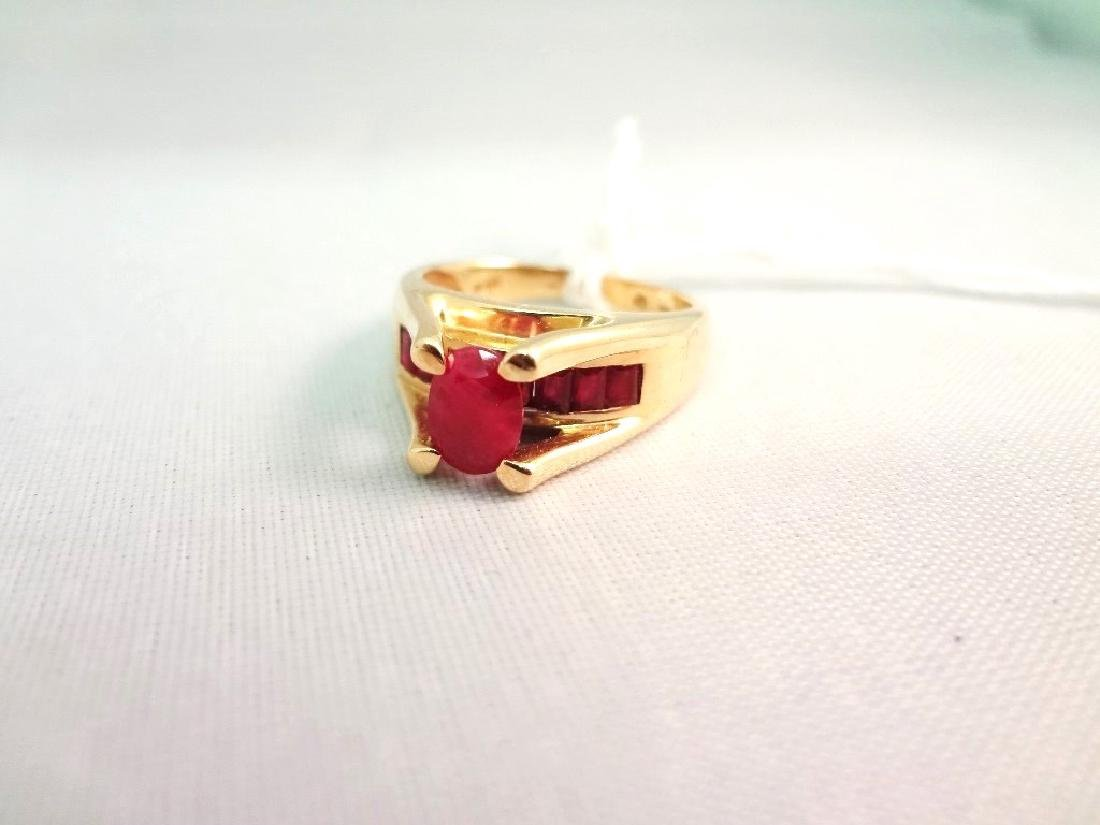 14K Gold Ring (1) Oval Ruby 6x4mm, (8) Ruby Baguettes - 4