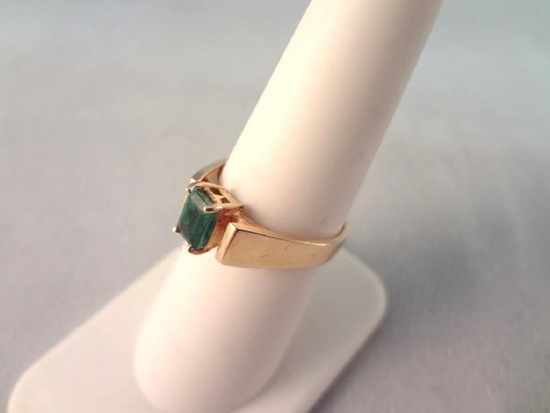 14K Gold Ring Single Emerald Cut Emerald 6x4mm Ring