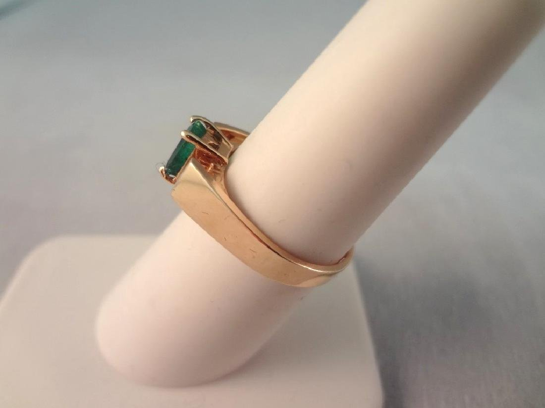14K Gold Ring Single Emerald Cut Emerald 6x4mm Ring - 2