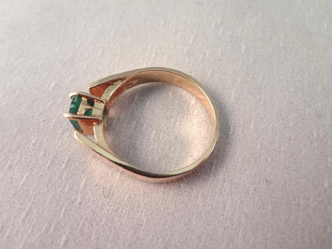 14K Gold Ring Single Emerald Cut Emerald 6x4mm Ring - 3