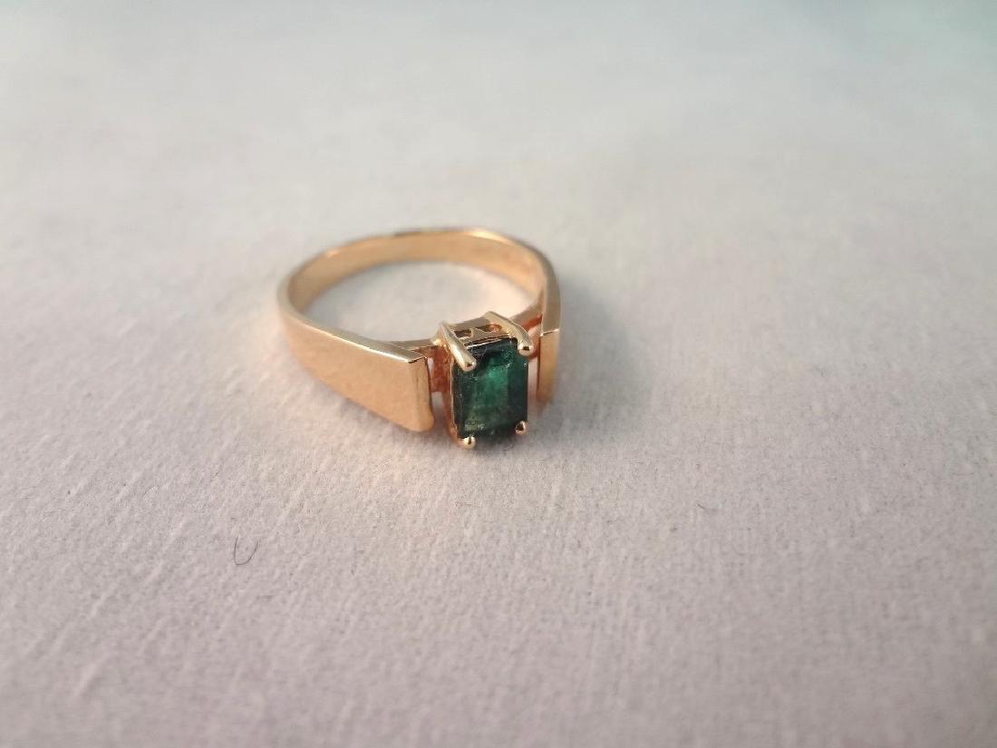 14K Gold Ring Single Emerald Cut Emerald 6x4mm Ring - 4