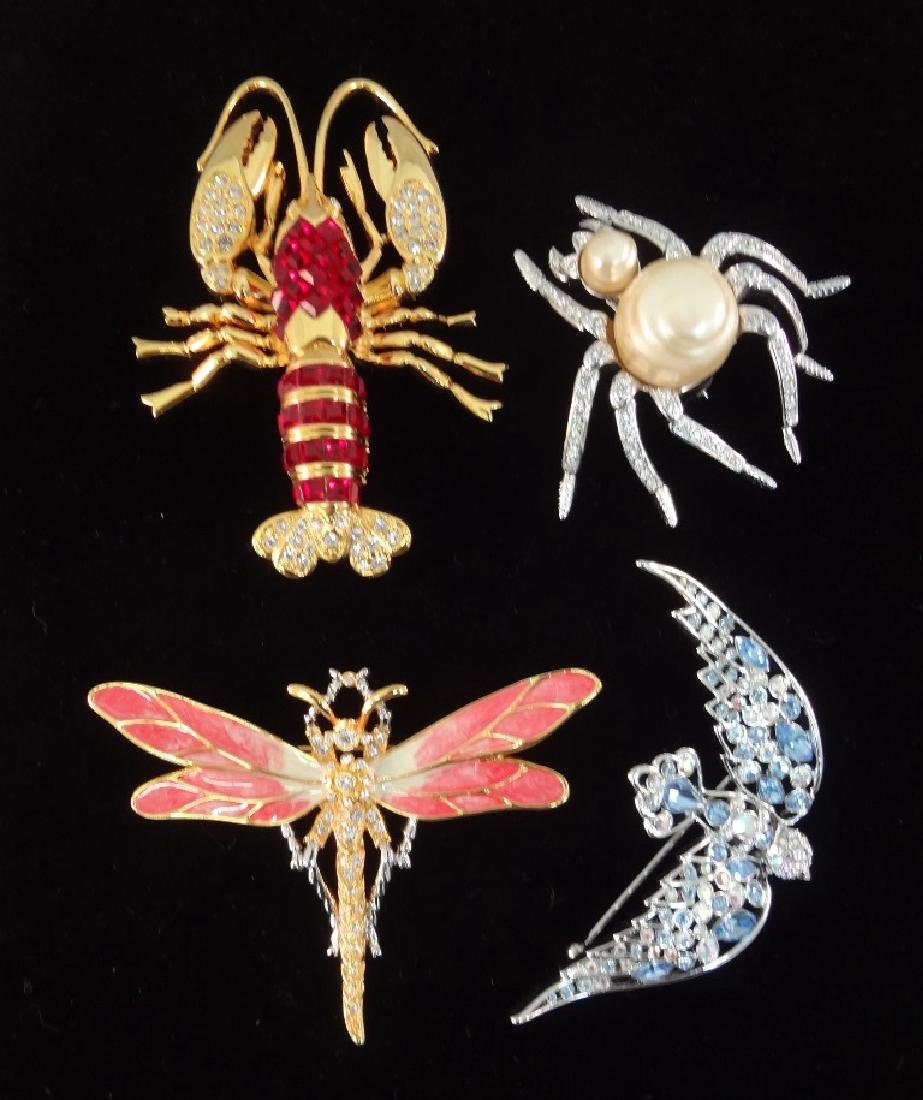 Nolan Miller Vintage Brooches: Lobster, Dragonfly,