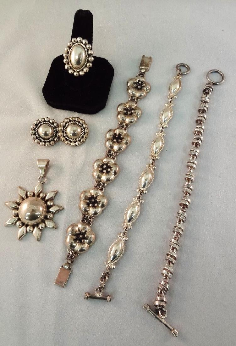 CII Mexican Sterling Silver Jewelry Group: (3)