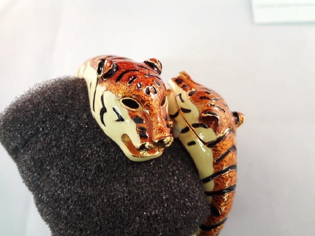 Kenneth Jay Lane Clamper Enameled Tiger Hidden Watch - 2