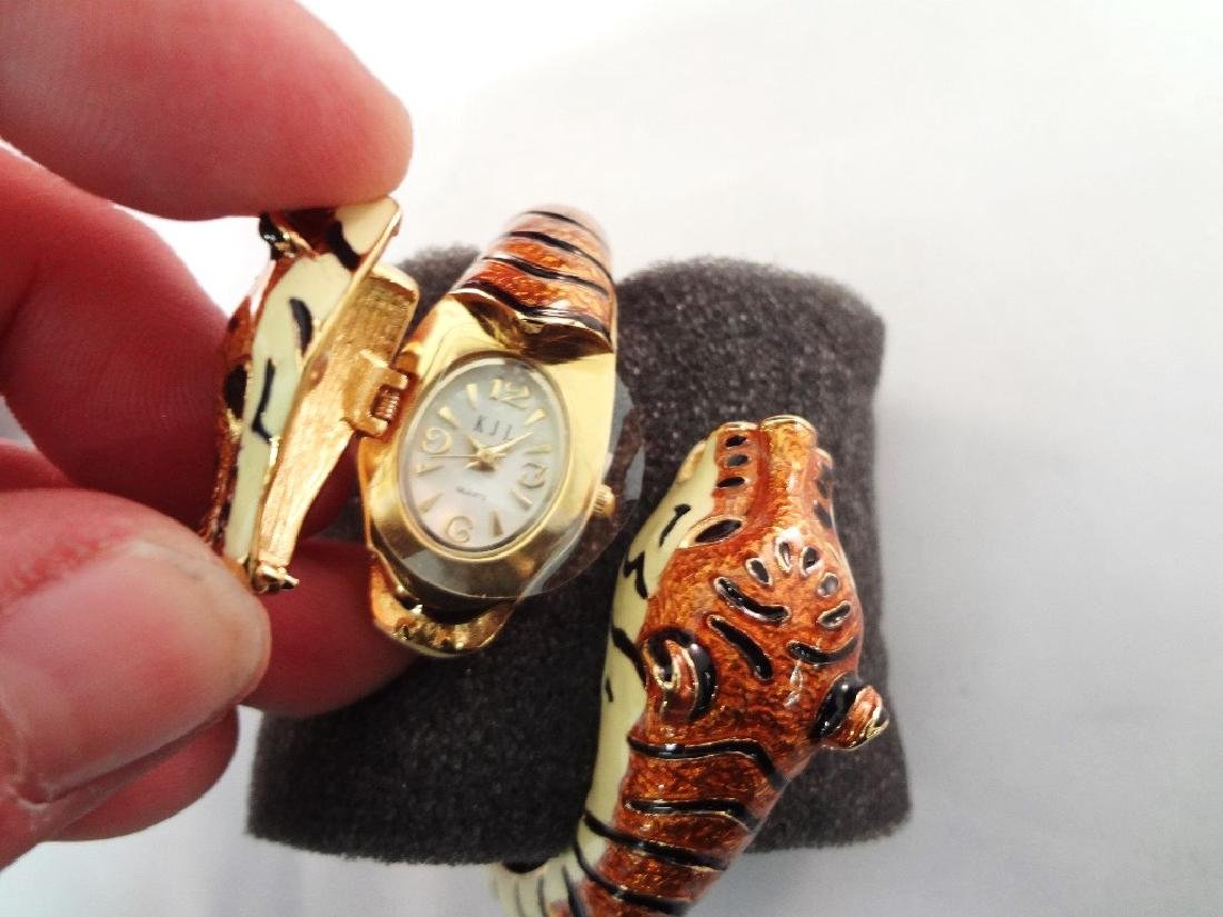 Kenneth Jay Lane Clamper Enameled Tiger Hidden Watch - 3