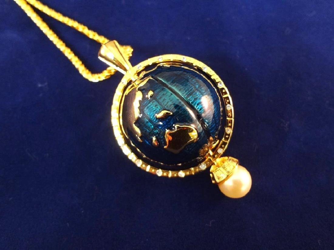 Kenneth Jay Lane Spinning Enameled Globe Pendant Gold - 2