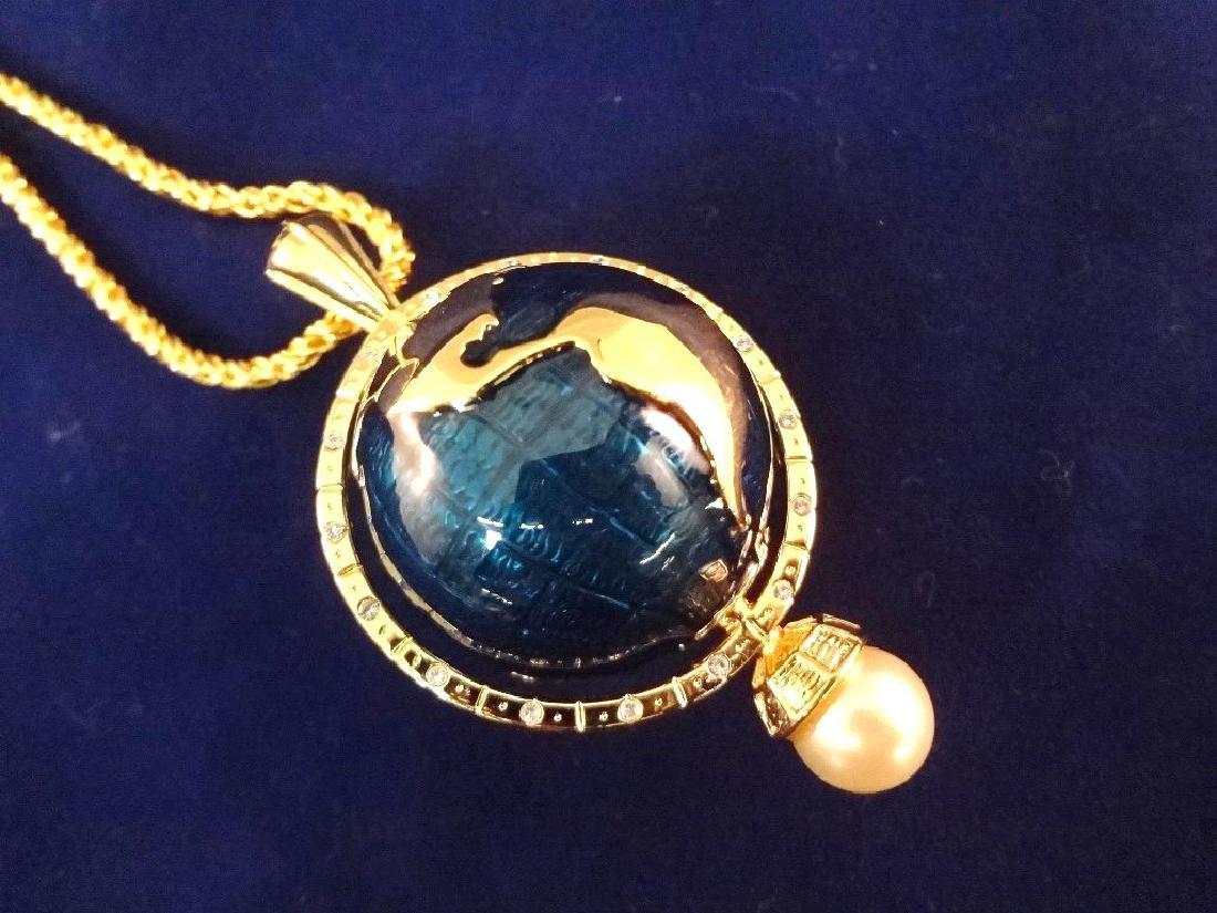 Kenneth Jay Lane Spinning Enameled Globe Pendant Gold - 3