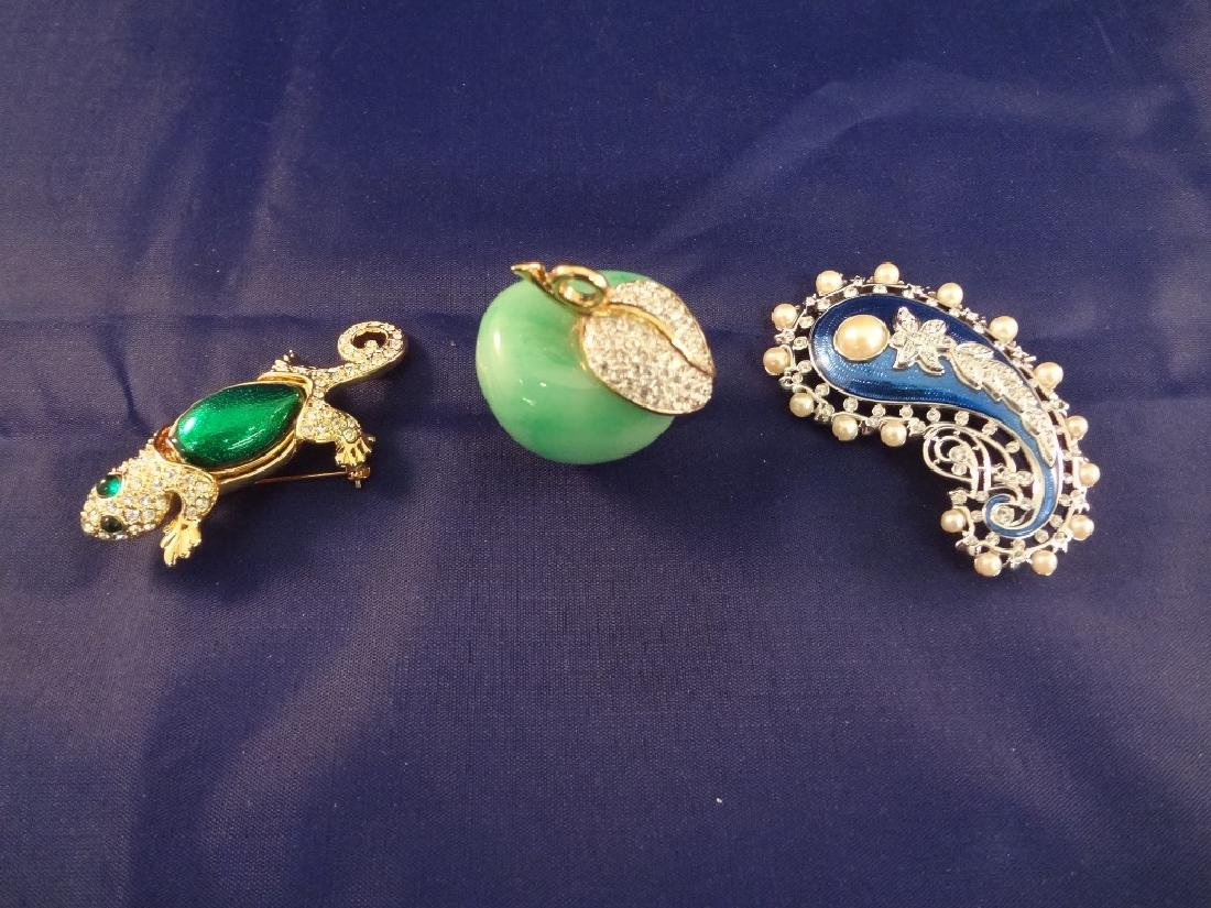(3) Kenneth Jay Lane Enameled and Rhinestone Brooches