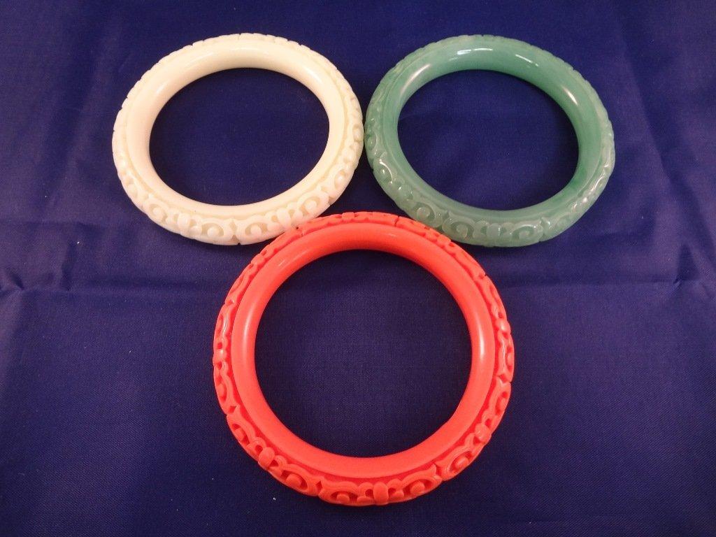 (3) Kenneth Jay Lane Molded Lucite Bangle Bracelets: