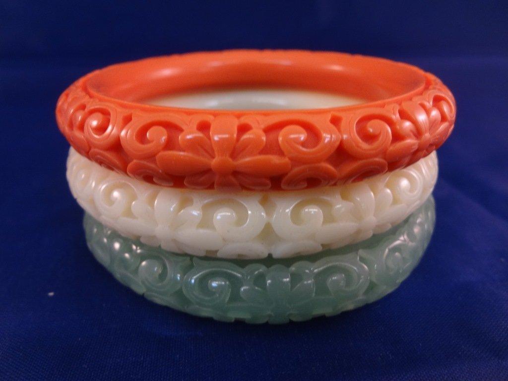 (3) Kenneth Jay Lane Molded Lucite Bangle Bracelets: - 2