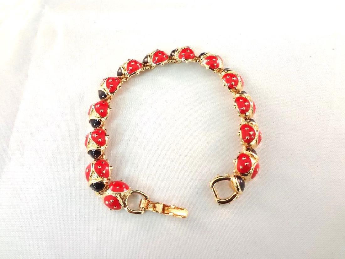 """Trifari Ladybug Enameled Gold Tone Tennis Bracelet 7.5"""""""
