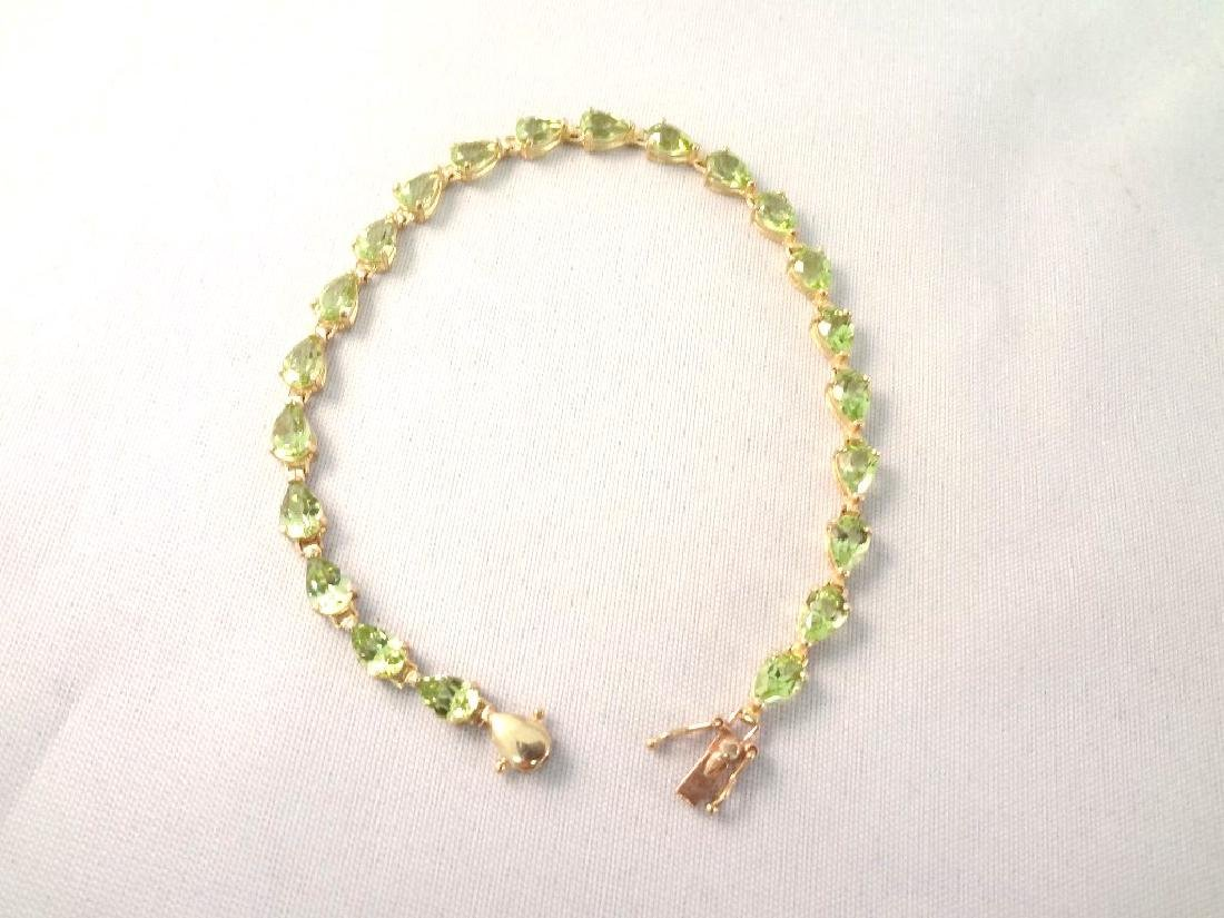 14K Gold Tennis Bracelet (22) Pear Cut Peridots 6x4mm