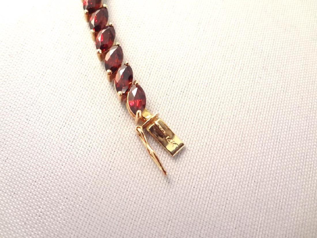 14K Gold Tennis Bracelet (38) Marquise Cut Garnet 6x3mm - 3