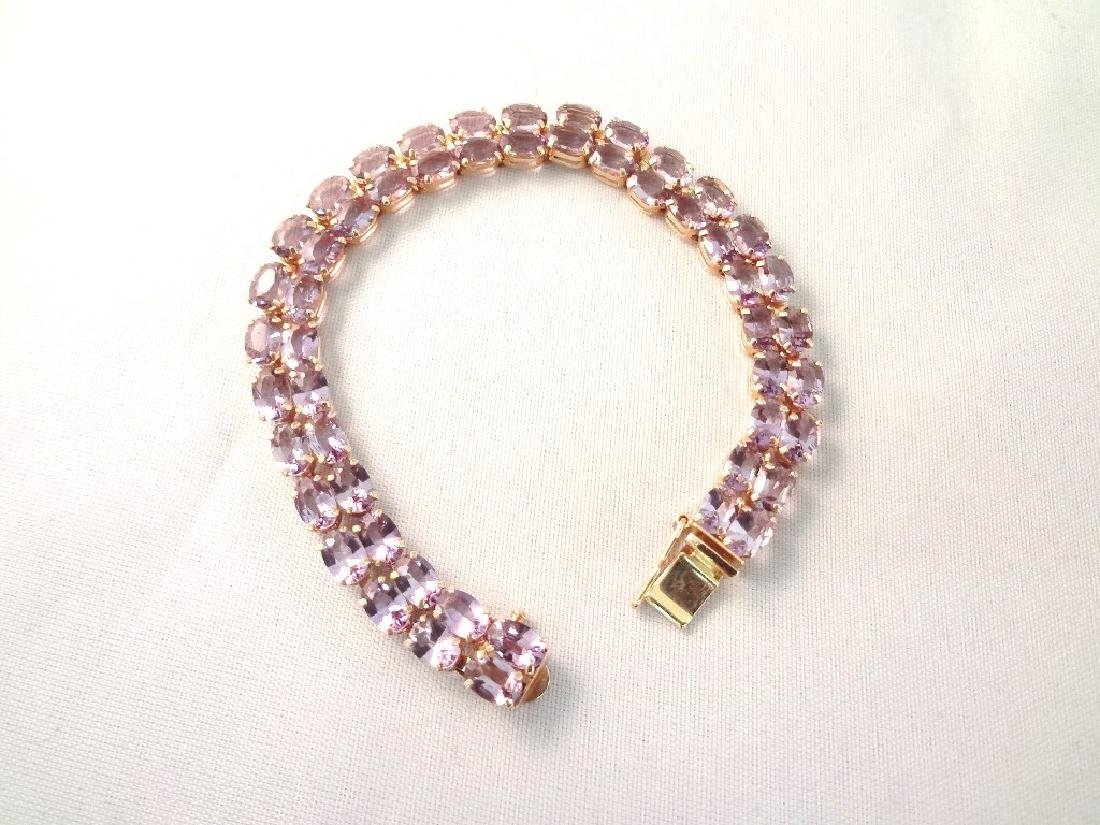 14K Gold Tennis Bracelet (52) Oval Amethysts 6x4mm (30)