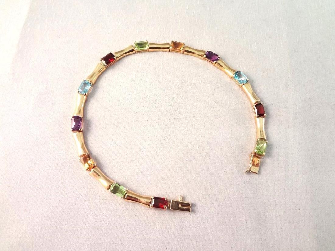 14K Gold Tennis Bracelet (12)Emerald Cut Peridot,