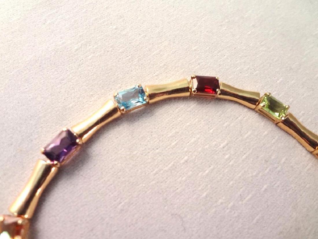 14K Gold Tennis Bracelet (12)Emerald Cut Peridot, - 2