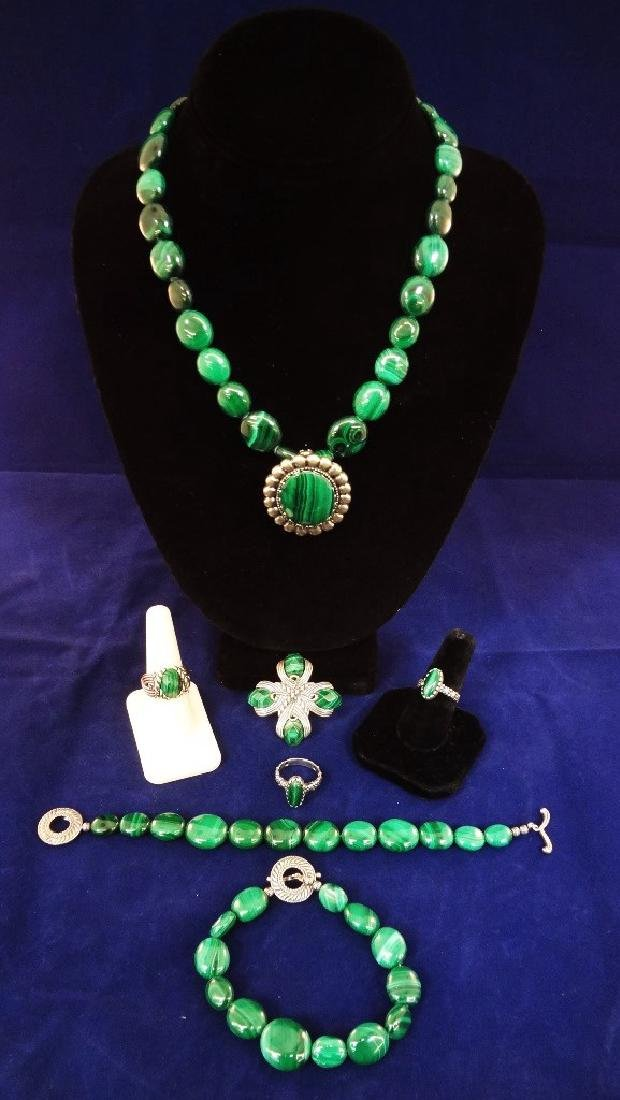 Carolyn Pollack Malachite Sterling Silver Jewelry Suite
