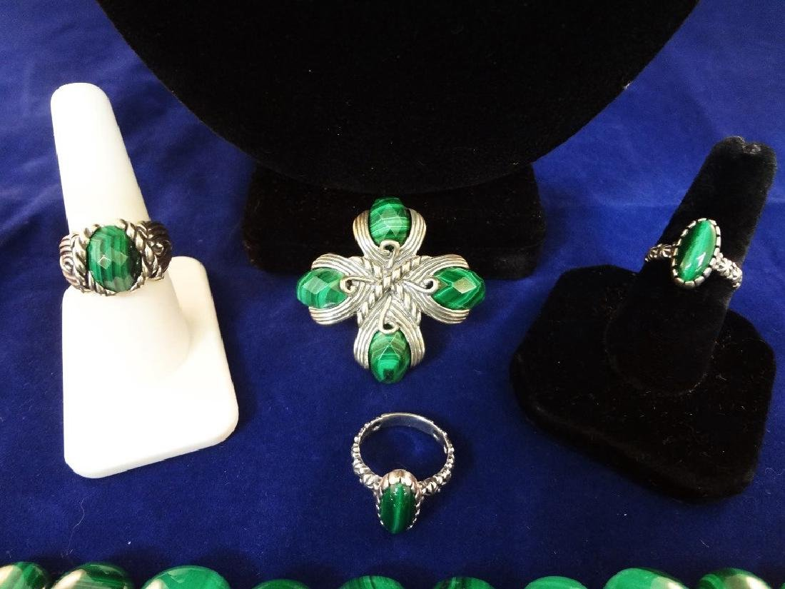 Carolyn Pollack Malachite Sterling Silver Jewelry Suite - 3