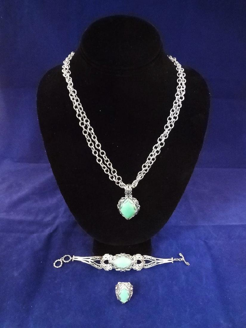 Carolyn Pollack Sterling Silver Turquoise Jewelry Suite