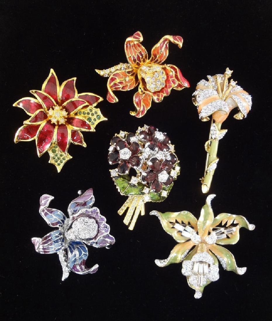 (6) Nolan Miller Enameled Rhinestone Oversize Floral
