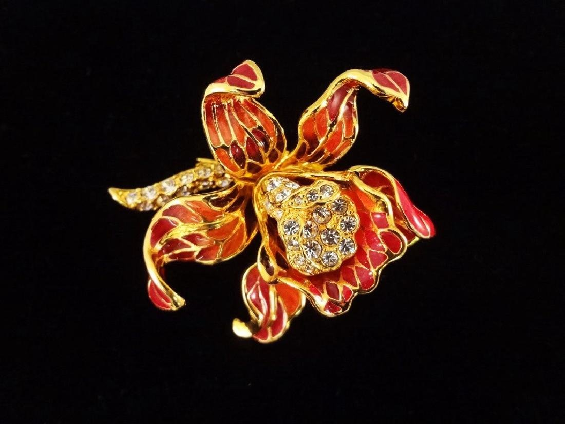 (6) Nolan Miller Enameled Rhinestone Oversize Floral - 2
