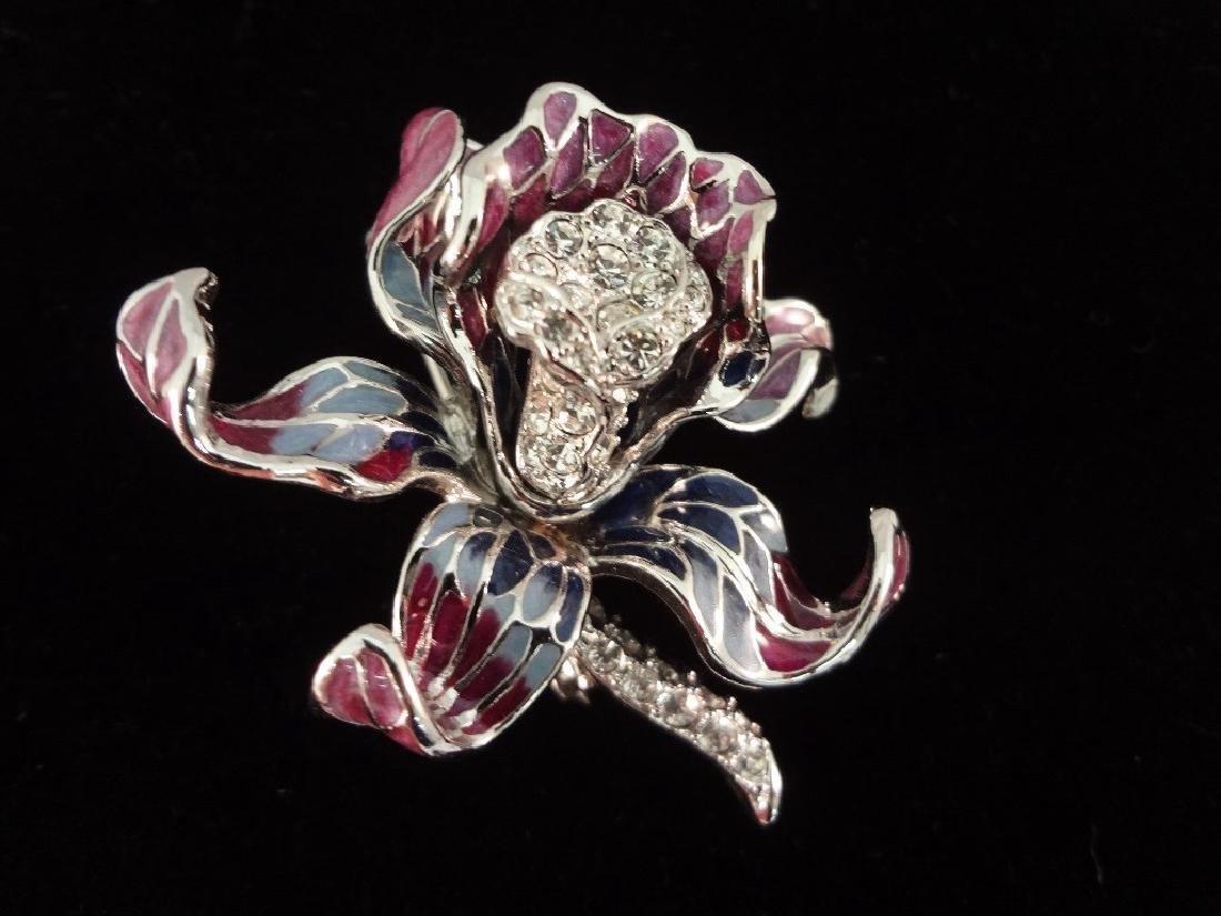 (6) Nolan Miller Enameled Rhinestone Oversize Floral - 5
