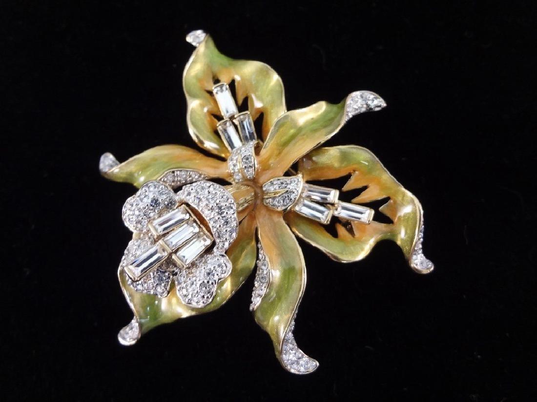 (6) Nolan Miller Enameled Rhinestone Oversize Floral - 7