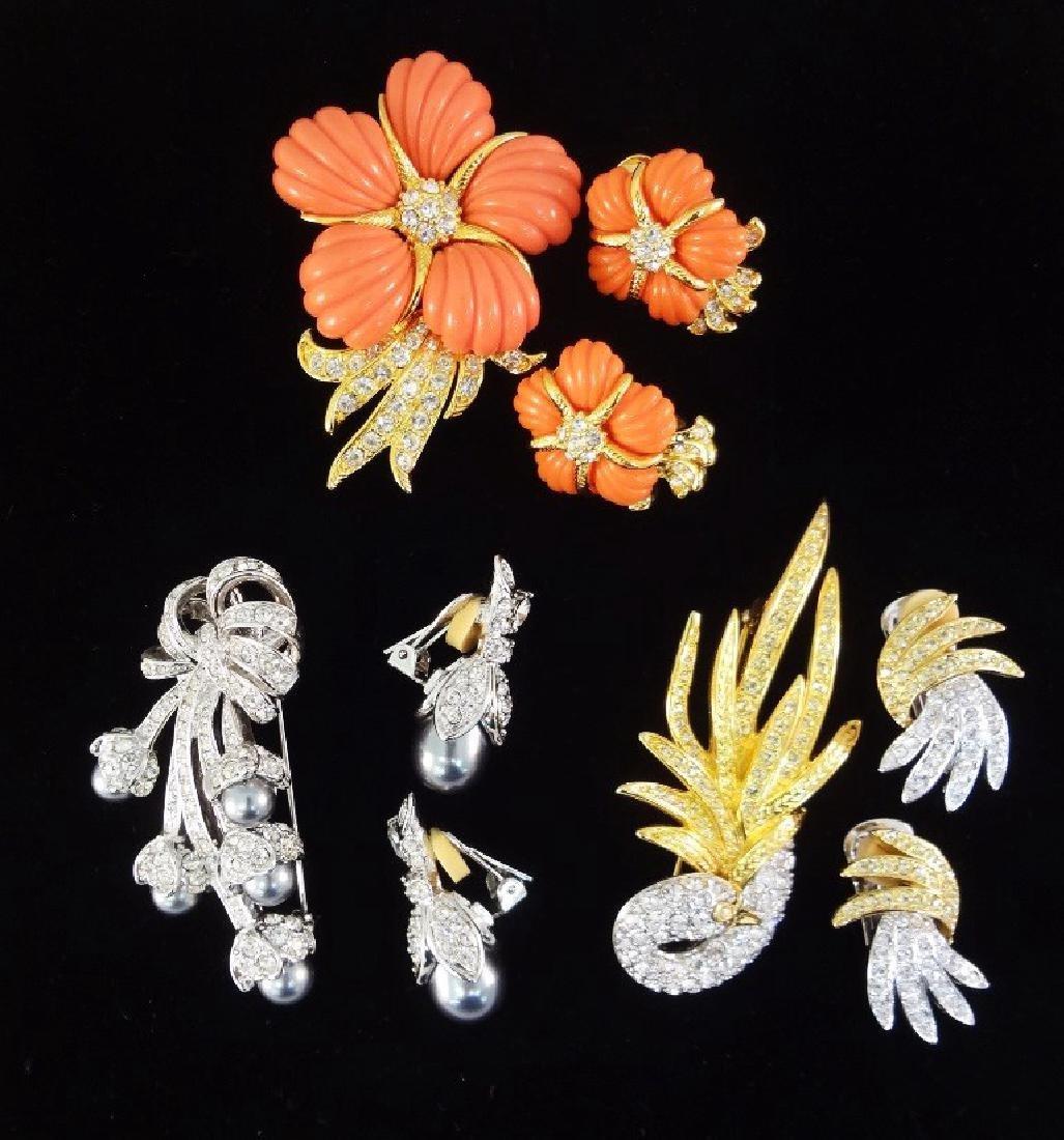 (3) Vintage Nolan Miller Brooch and Earring Sets