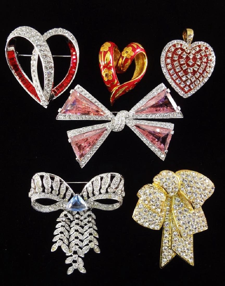(6) Nolan Miller Heart and Bow Pendants and Brooches