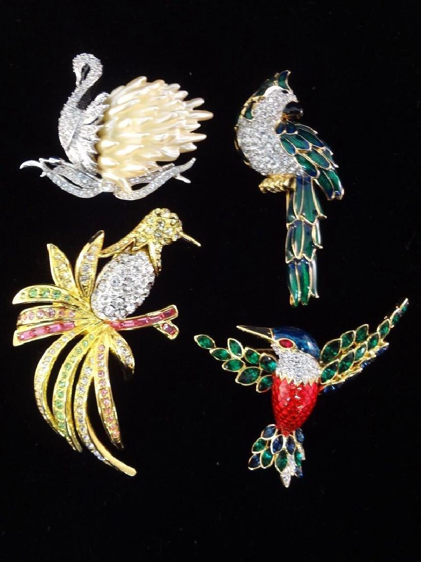 Nolan Miller Vintage (4) Oversize Bird Brooches: