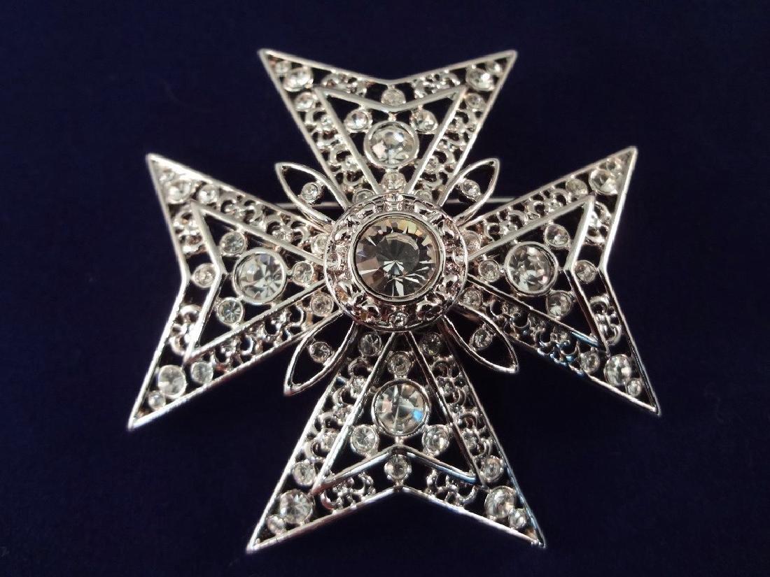 (4) Nolan Miller Vintage Brooches: Sunburst, Cross, - 3